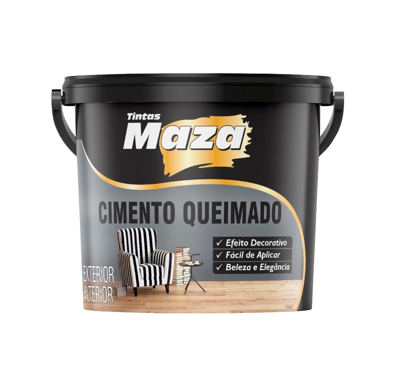 Cimento Queimado massa pronta para Parede Maza - 5,6kg - Cimento queimado