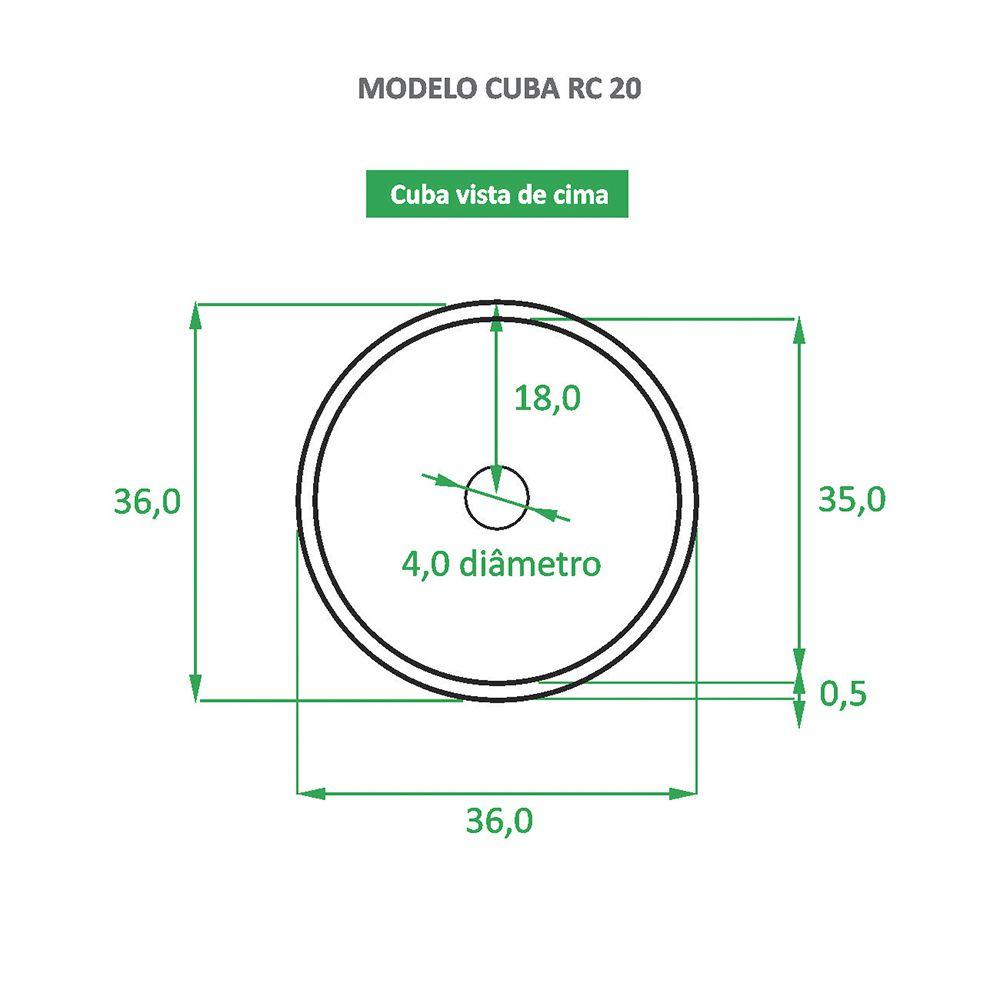 Cuba de Apoio Cerâmica Reno RC 20