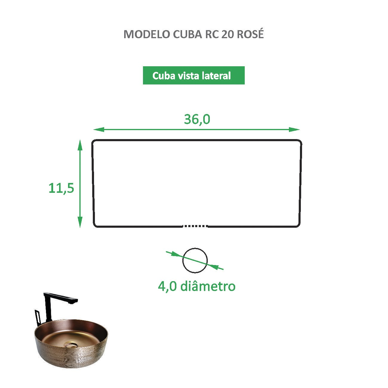 Cuba de Apoio Cerâmica Reno RC 20 Rose gold - Lançamento!