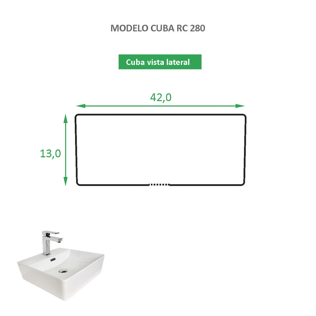 Cuba de Apoio Cerâmica Reno RC 280 Novidade!