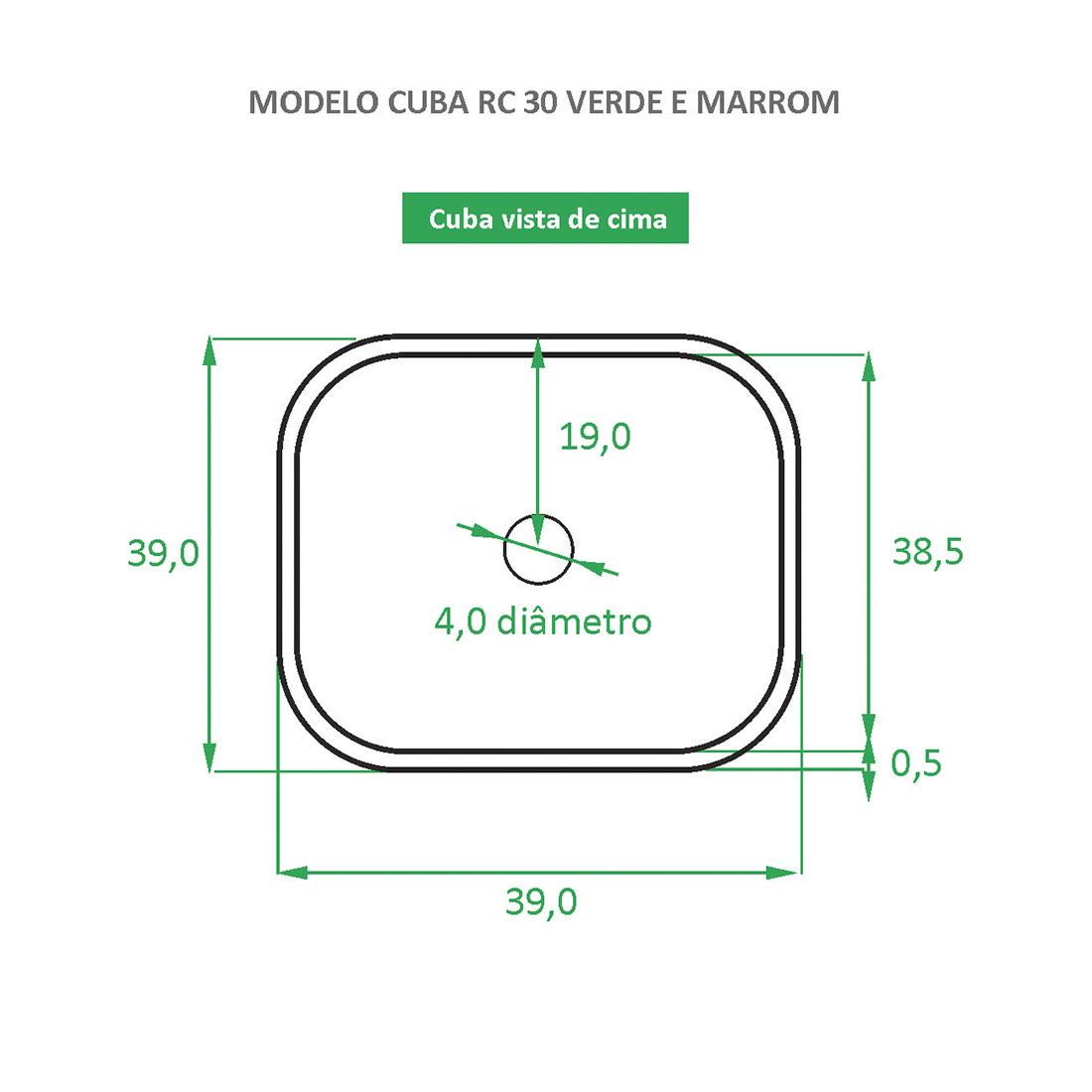 Cuba de Apoio Cerâmica Reno RC 30 verde e rose gold - Novidade