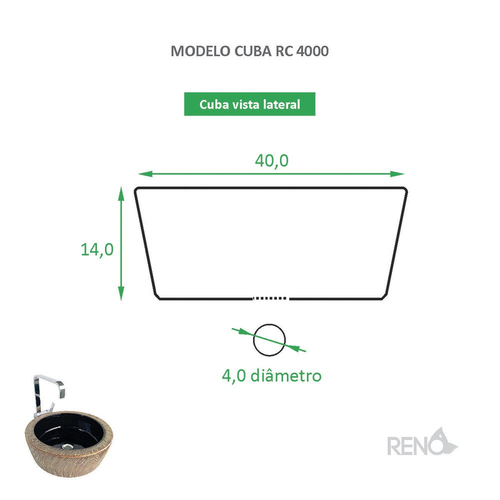 Cuba de Apoio Cerâmica Reno RC 4000