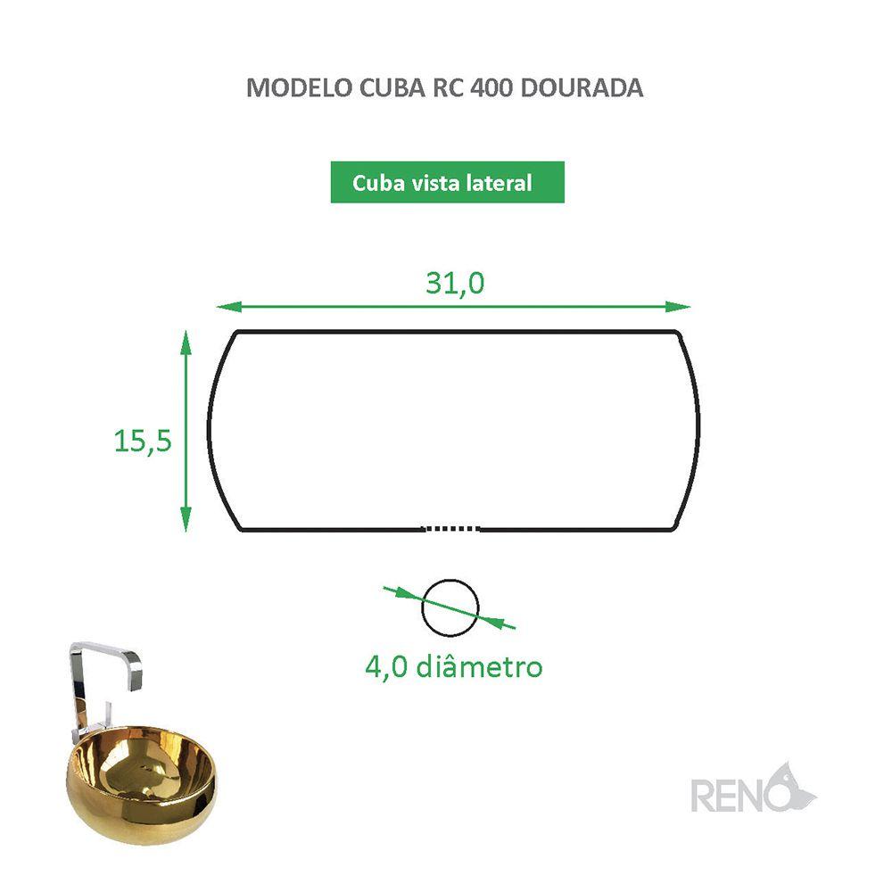 Cuba de Apoio Cerâmica Reno RC 400 Dourada
