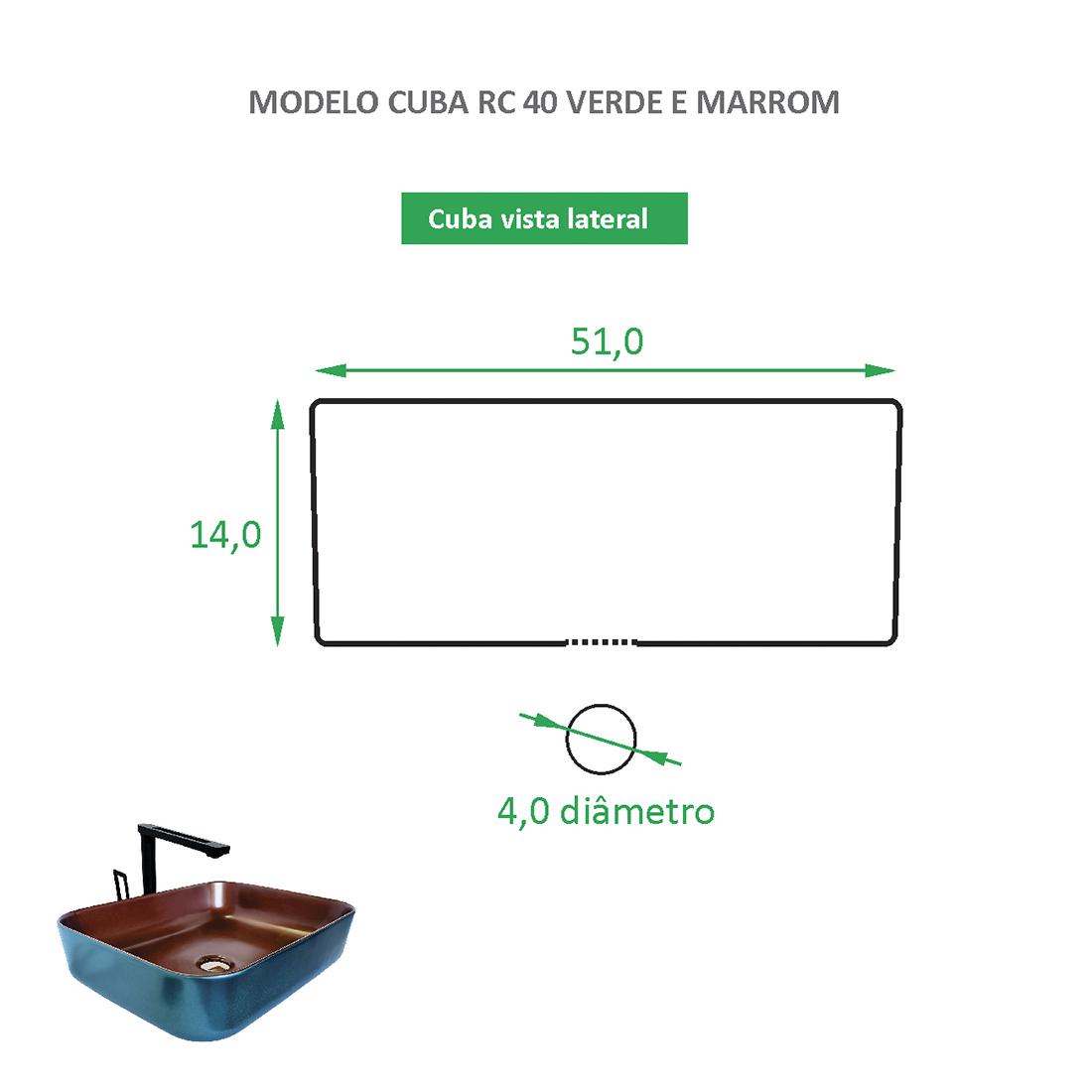 Cuba de Apoio Cerâmica Reno RC 40 verde e rose gold - Novidade