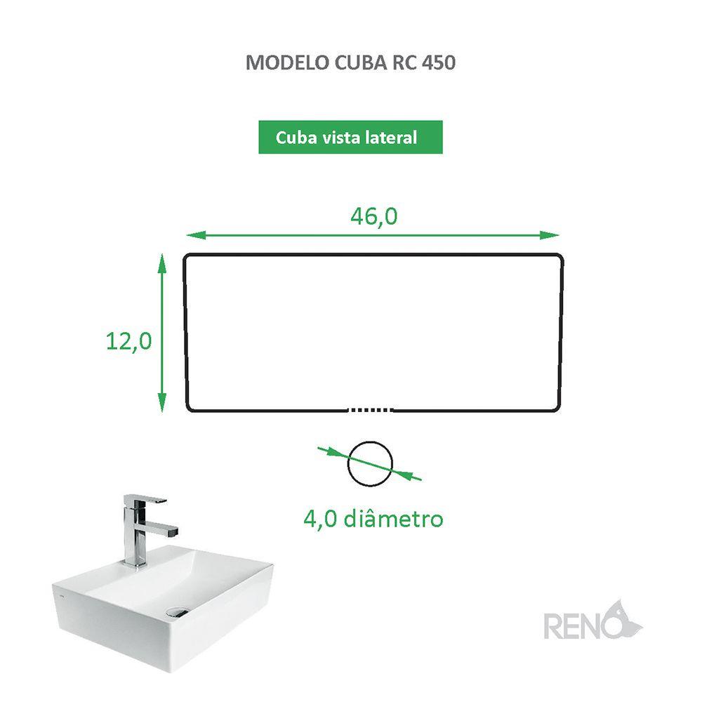 Cuba de Apoio Cerâmica Reno RC 450 Branca Fosca