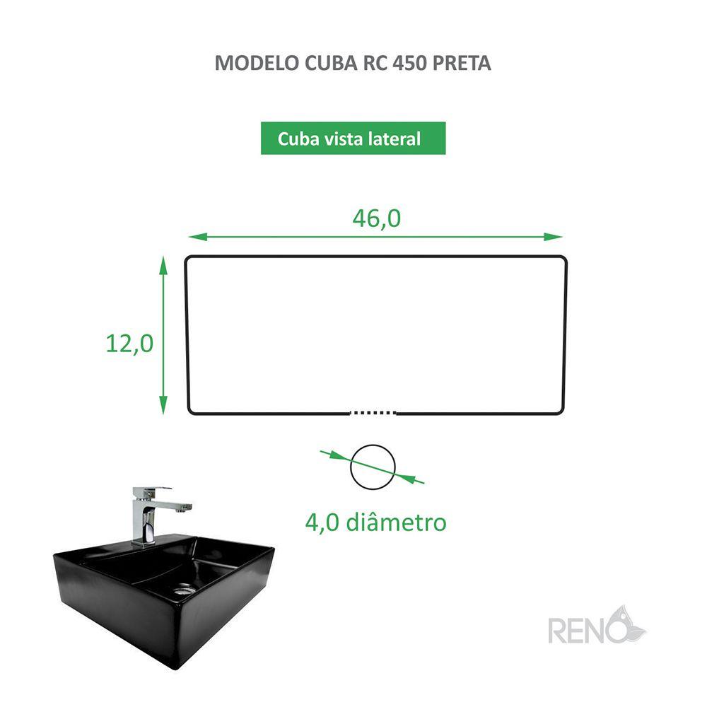 Cuba de Apoio Cerâmica Reno RC 450 Preta Fosca
