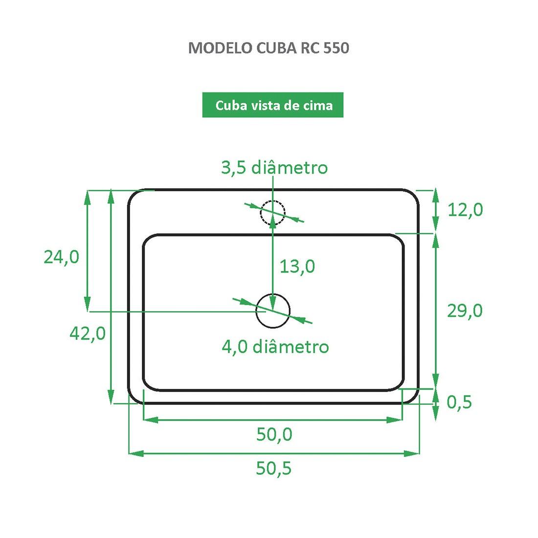 Cuba de Apoio Cerâmica Reno RC 550 Novidade!