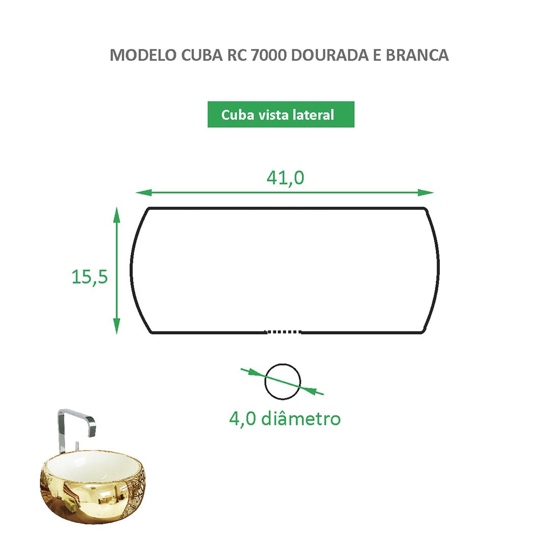 Cuba de Apoio Cerâmica Reno RC 7000 Branca e Dourada - Lançamento!