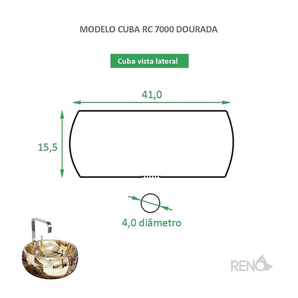 Cuba de Apoio Cerâmica Reno RC 7000 Dourada - Lançamento!