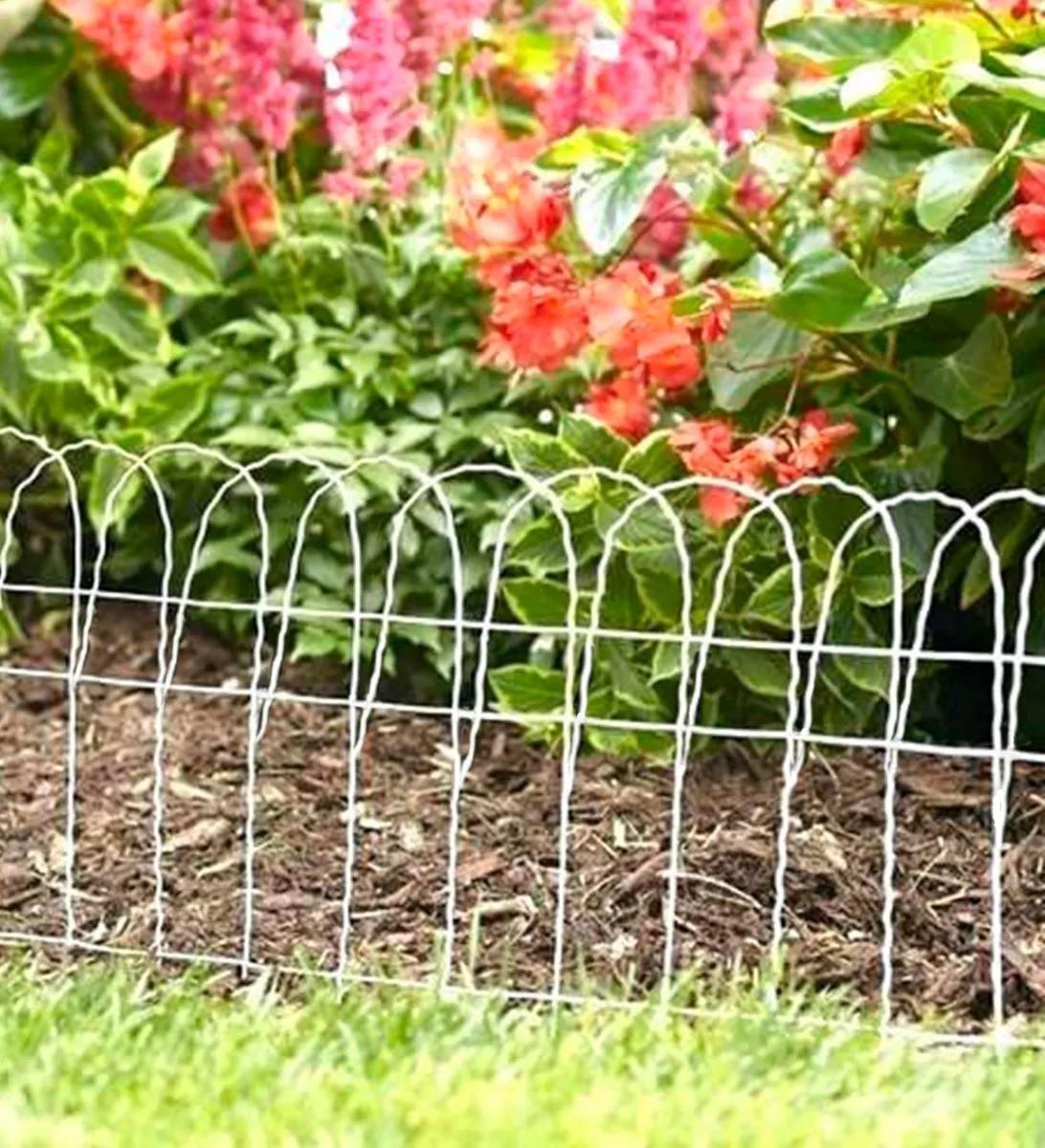 Kit Tela Jardim Branca 0,65 + 8 postes + arame para amarrar