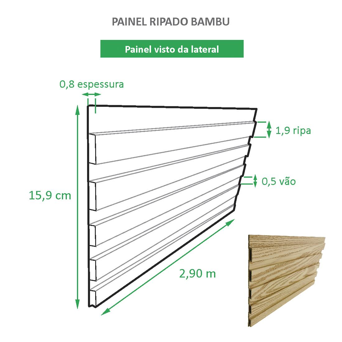 Painel Ripado Ecológico RENO Bambu - Novidade placa com 0,46m²