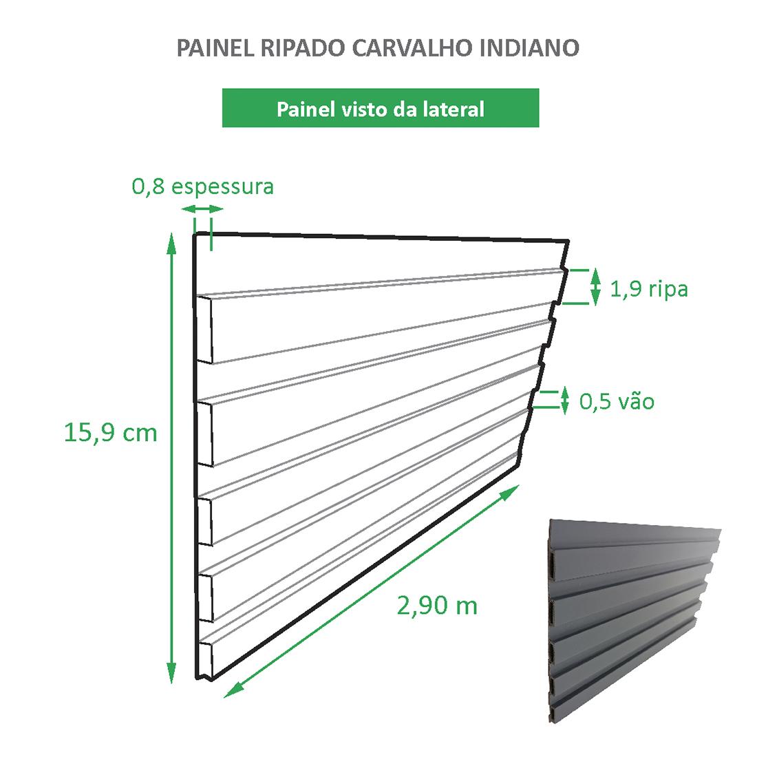 Painel Ripado Ecológico RENO Carvalho Indiano  - Novidade placa com 0,46m²