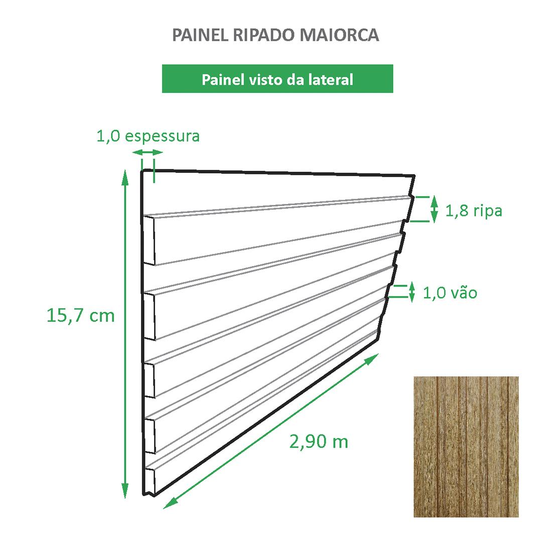 Painel Ripado Ecológico RENO Maiorca - Novo Modelo placa com 0,45m²