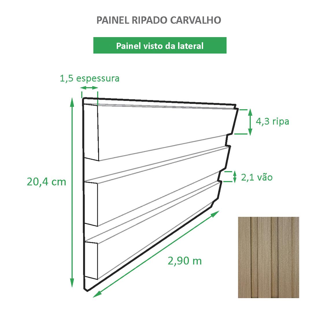 Painel Ripado Ecológico RENO Carvalho - Novidade placa com 0,59m²
