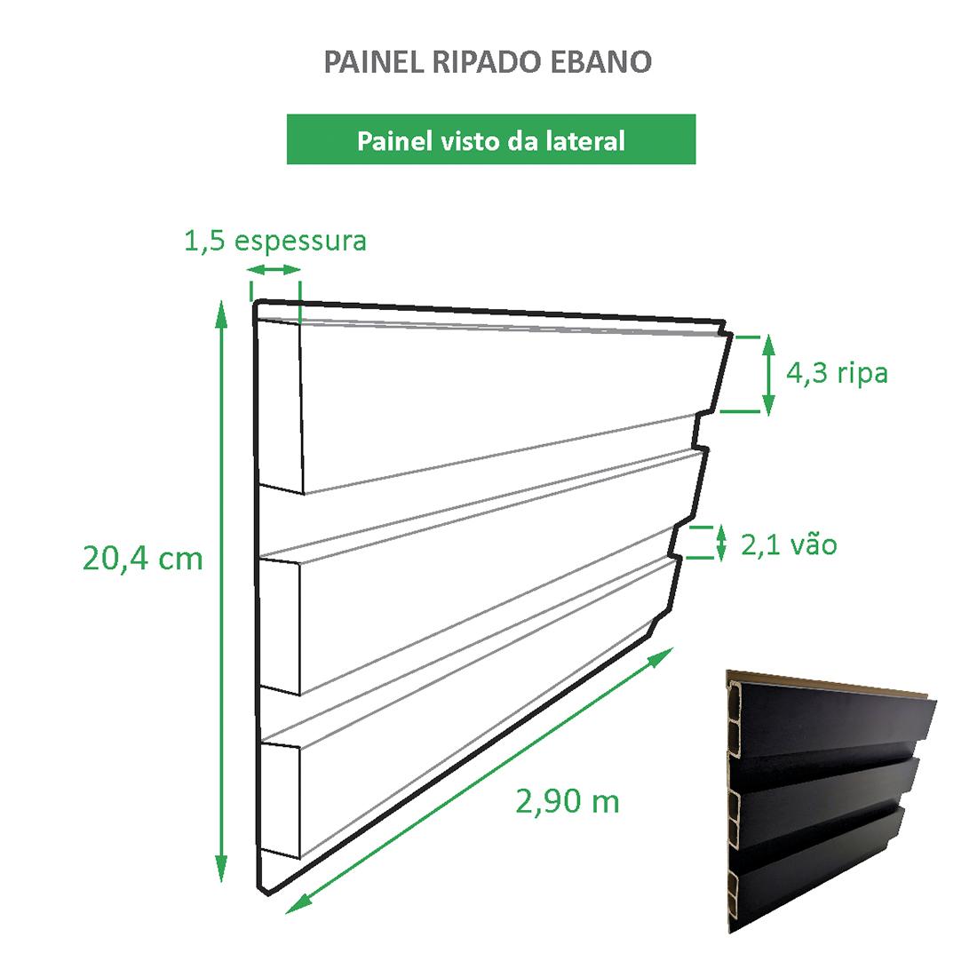 Painel Ripado Ecológico RENO Ebano - Novidade placa com 0,59m²