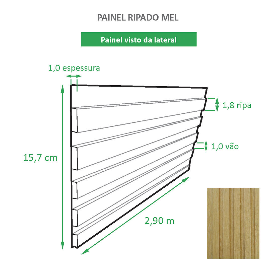 Painel Ripado Ecológico RENO Mel - Novo Modelo placa com 0,45m²
