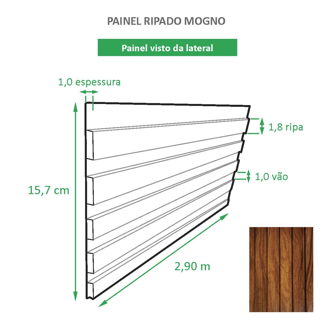 Painel Ripado Ecológico RENO Mogno - Novidade placa com 0,46m²