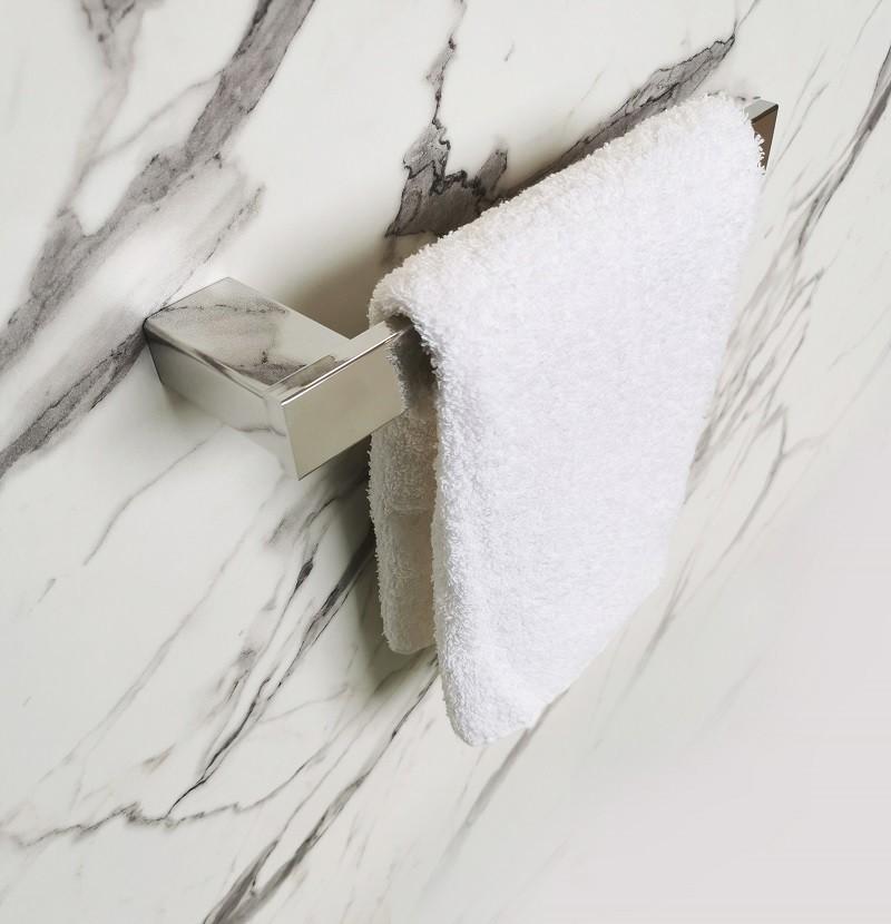 Porta toalha de rosto prata polido
