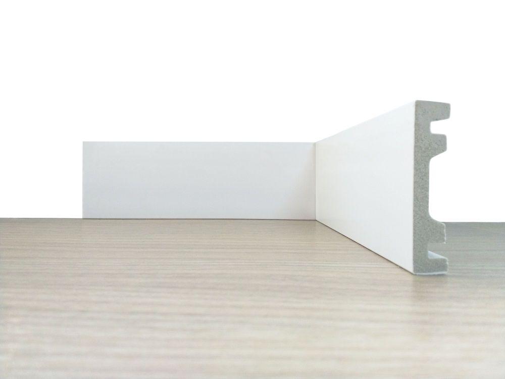 Rodapé de Poliestireno Liso 10 cm Barra de 2,4 m
