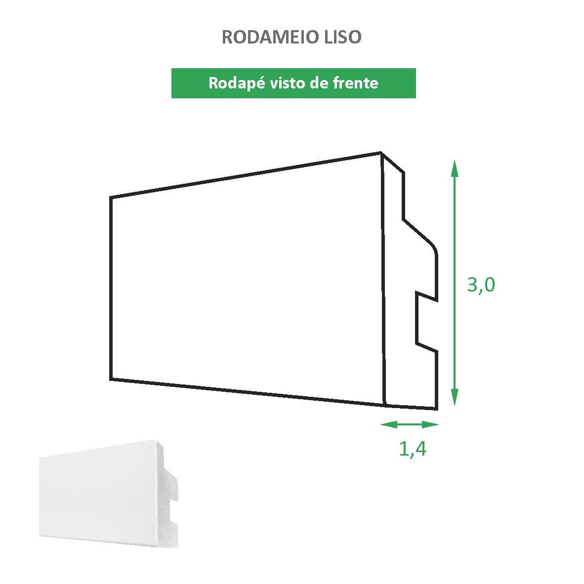 Rodapé/rodameio de 3 cm Poliestireno