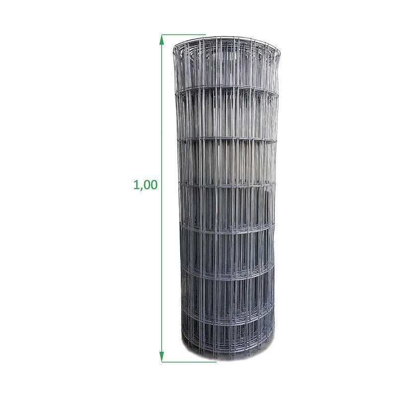Tela Galvanizada Soldada - 1,00 x 25 m - Malha 5x15 cm