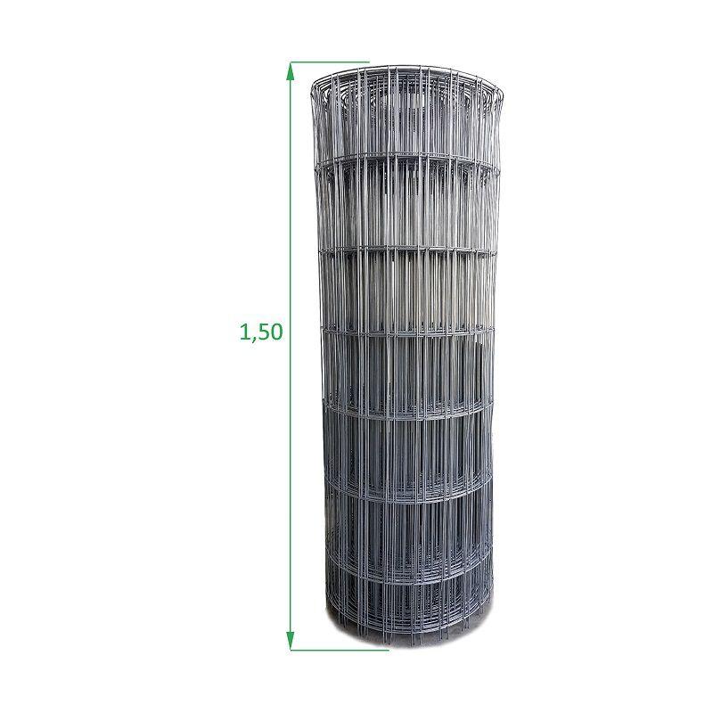 Tela Galvanizada Soldada - 1,50 x 25 m - Malha 5x15 cm