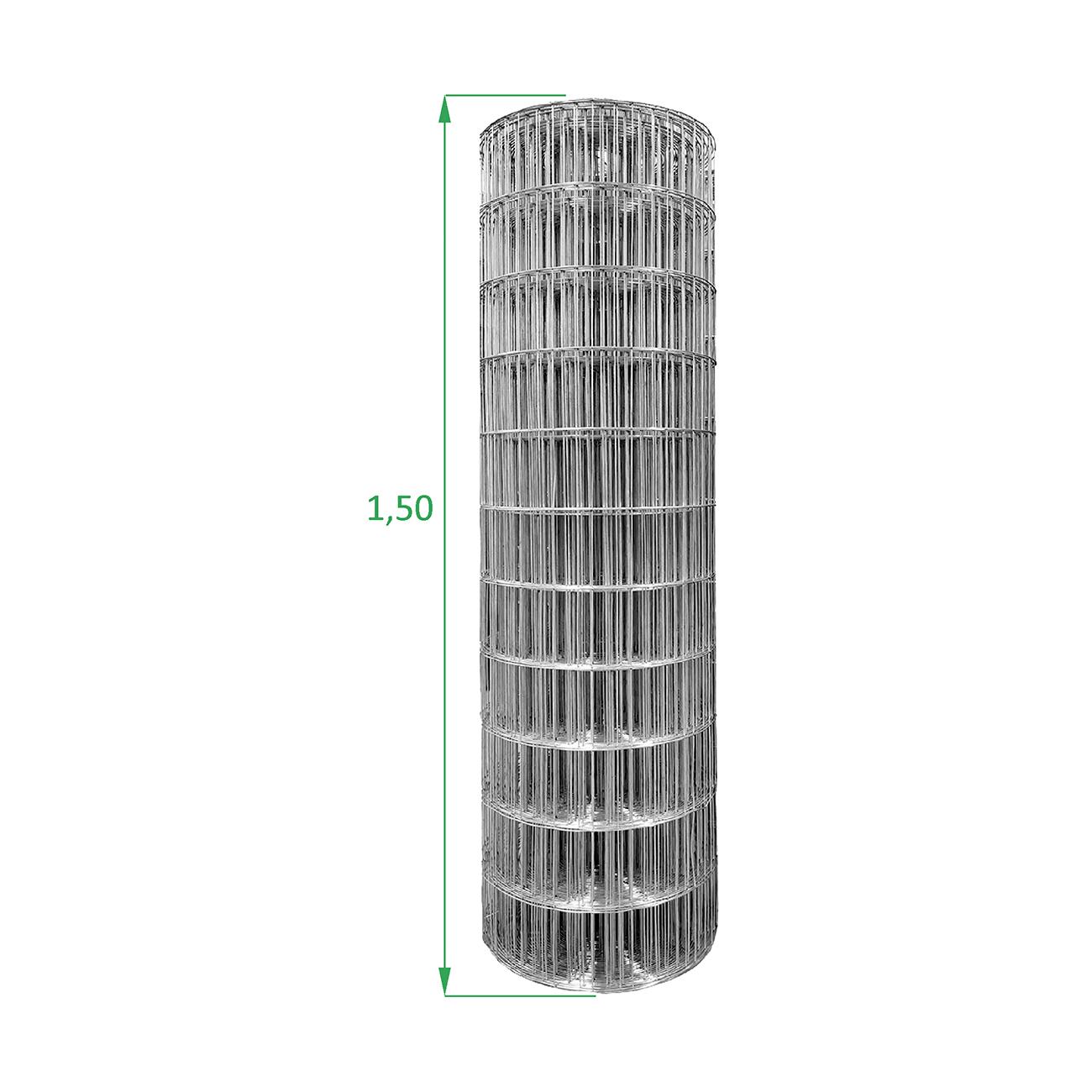 Tela Galvanizada Soldada - 1,50 x 25 m - Malha 5x10 cm