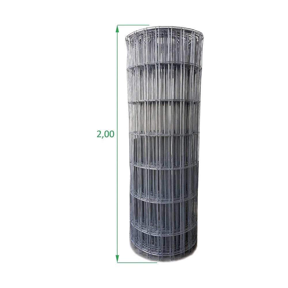 Tela Galvanizada Soldada - 2,00 x 25 m - Malha 5x15 cm