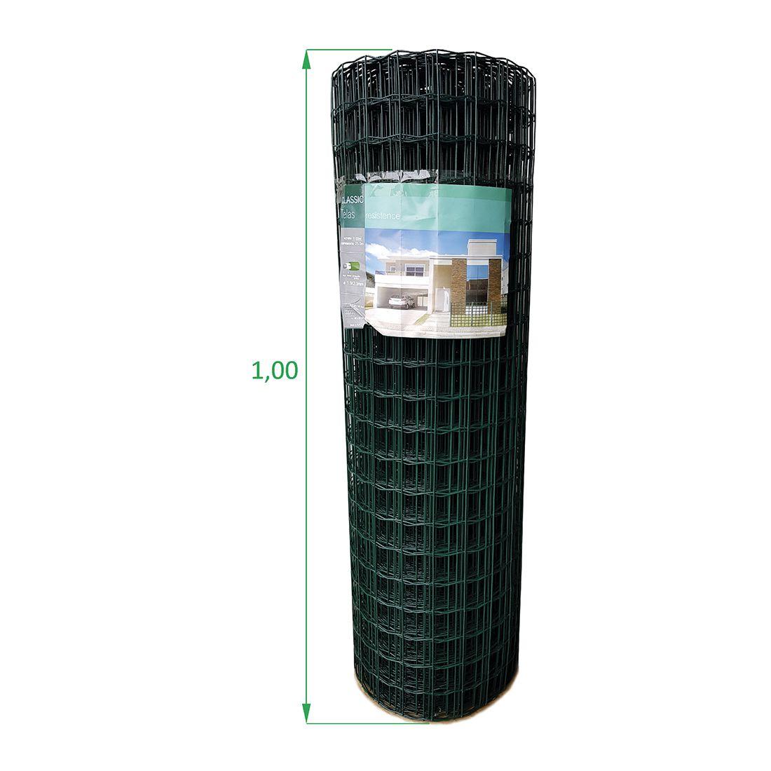 Tela Soldada e Revestida em PVC - 1,00 x 25 m - Malha 5x5