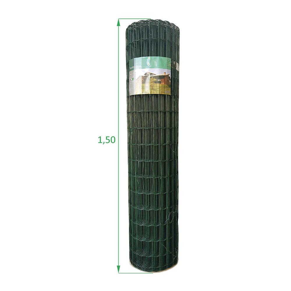 Tela Soldada e Revestida em PVC - 1,50 x 25 m - Malha 5x10 cm