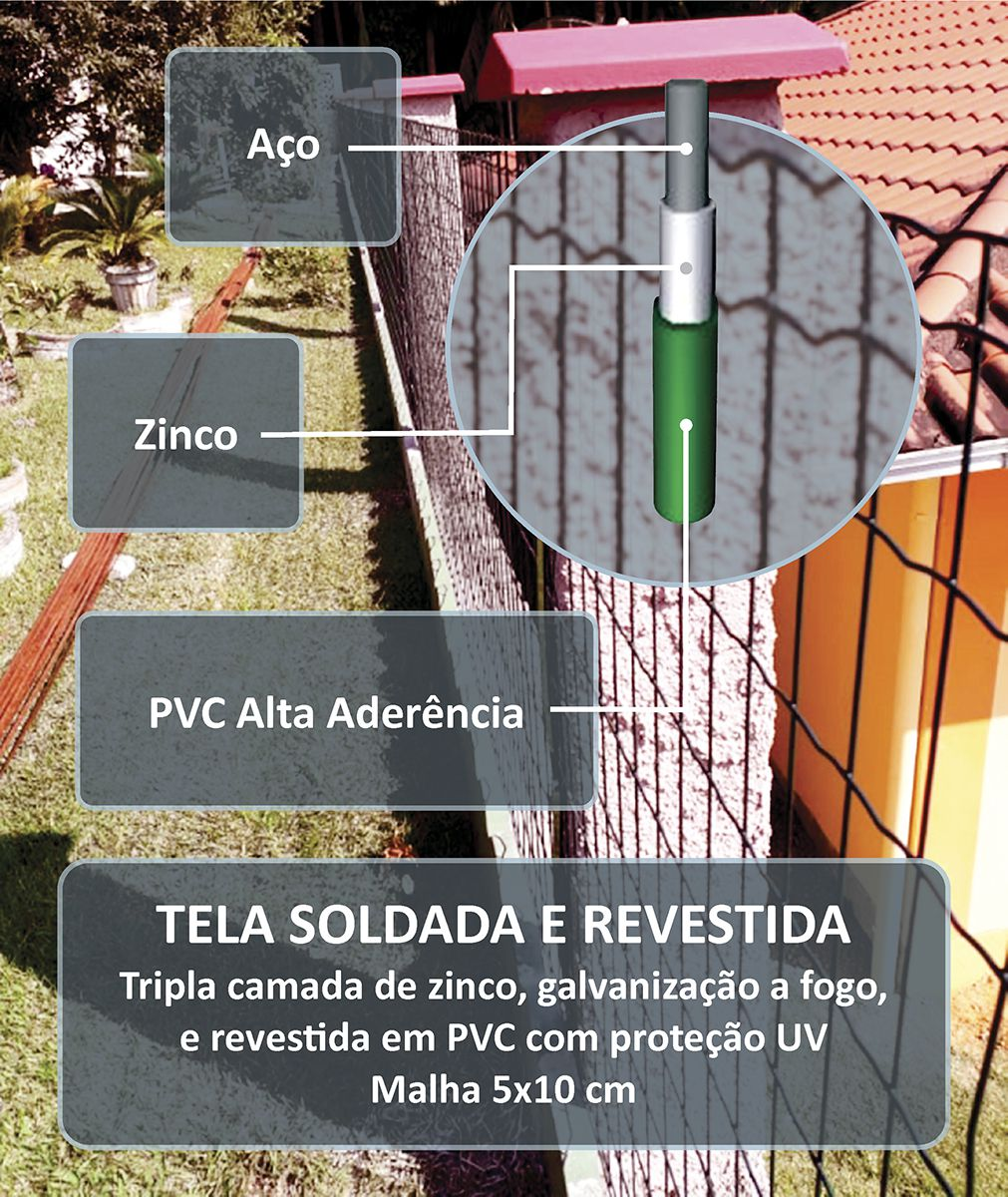Tela Soldada e Revestida em PVC - 2,00 x 25 m - Malha 5x10 cm