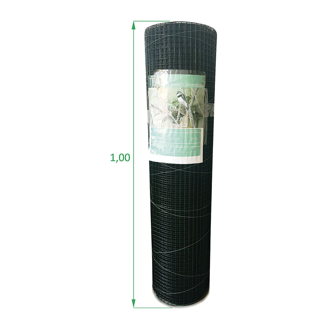 Tela Soldada e Revestida para Viveiro - 1,00 x 25 m - Malha 1,6 x 1,6 cm