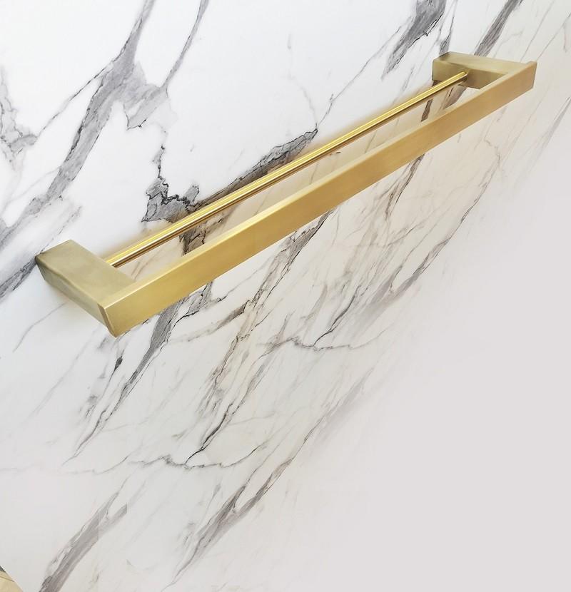 Toalheiro duplo inox dourado
