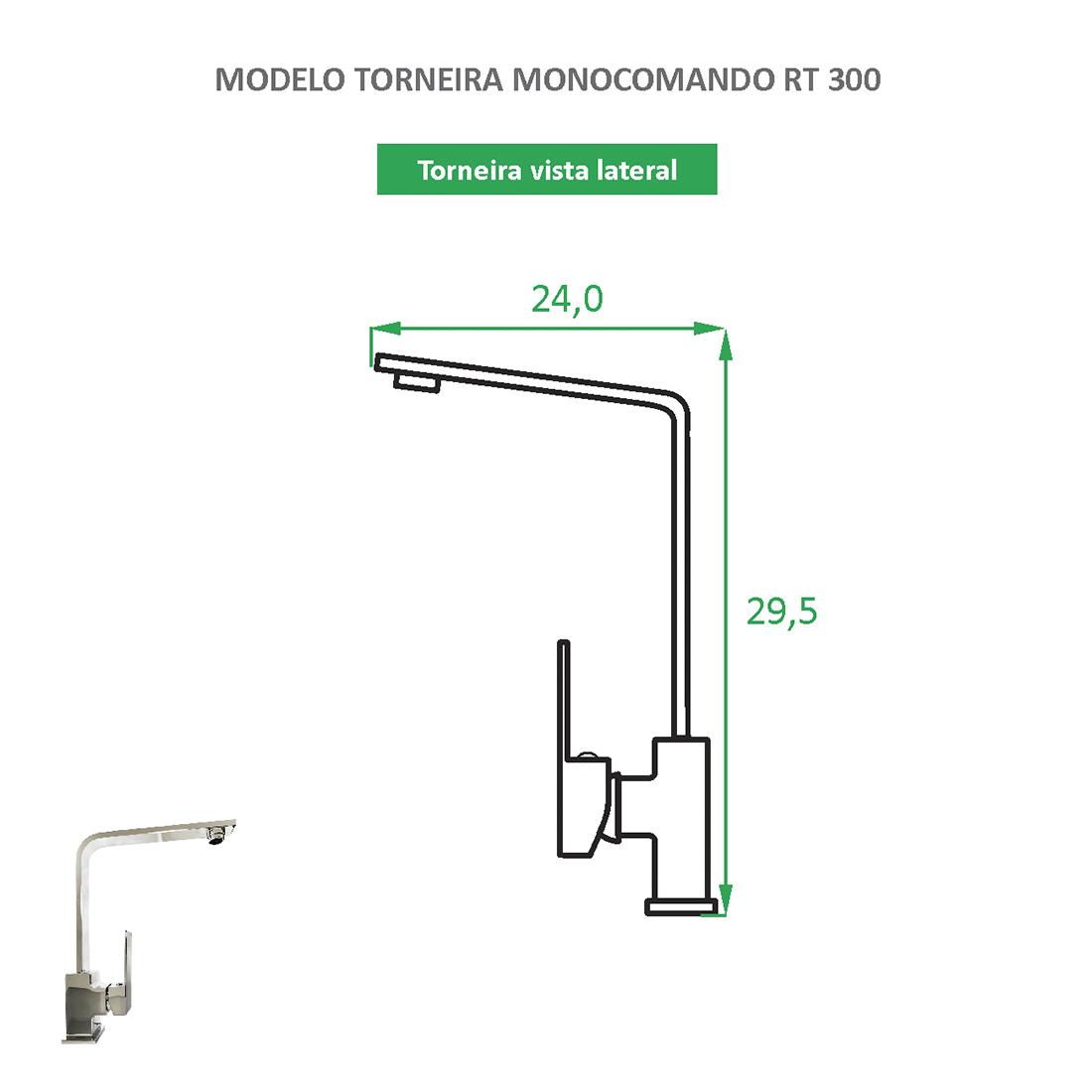 Torneira Monocomando bica alta RT 300