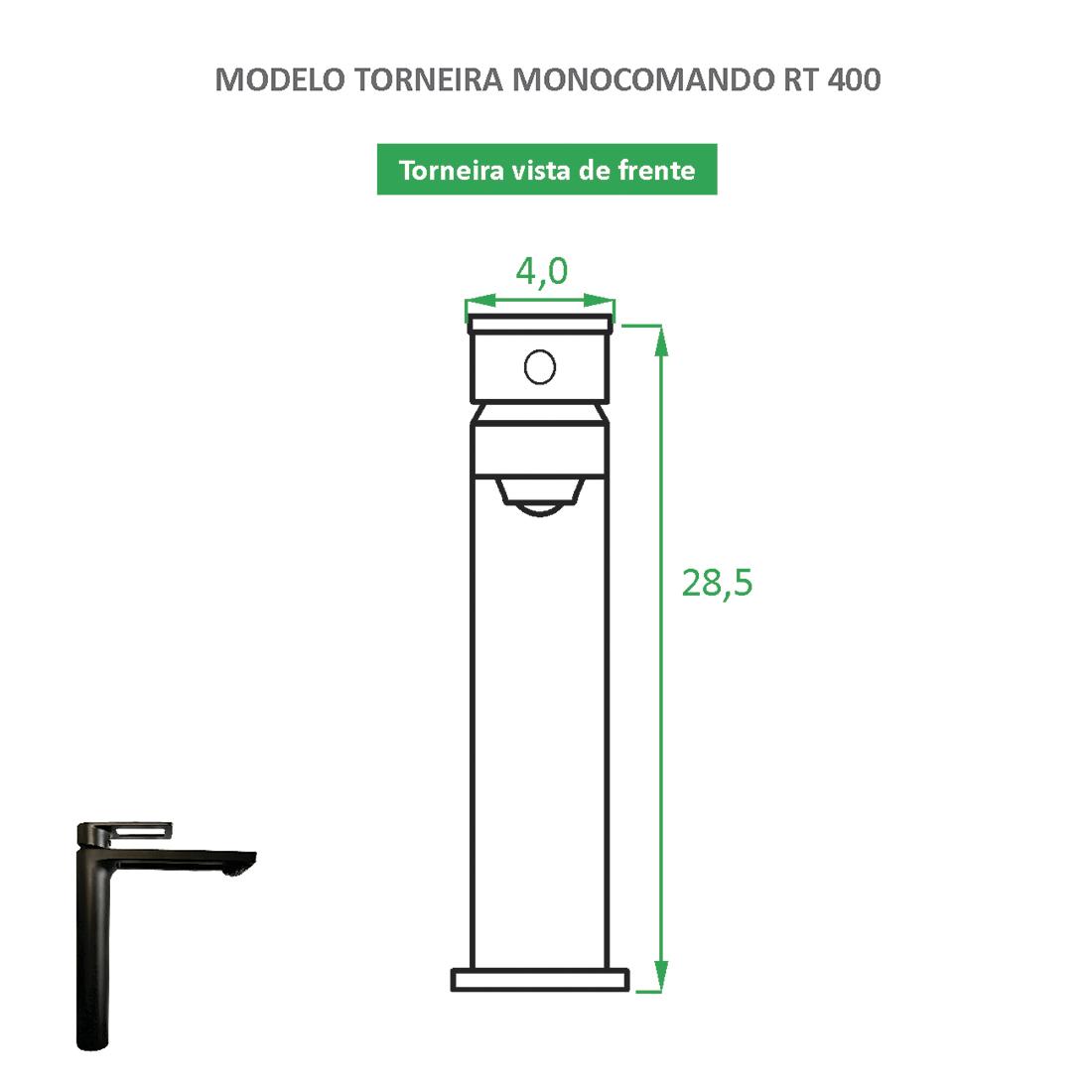 Torneira Monocomando bica alta RT 400 preta fosca