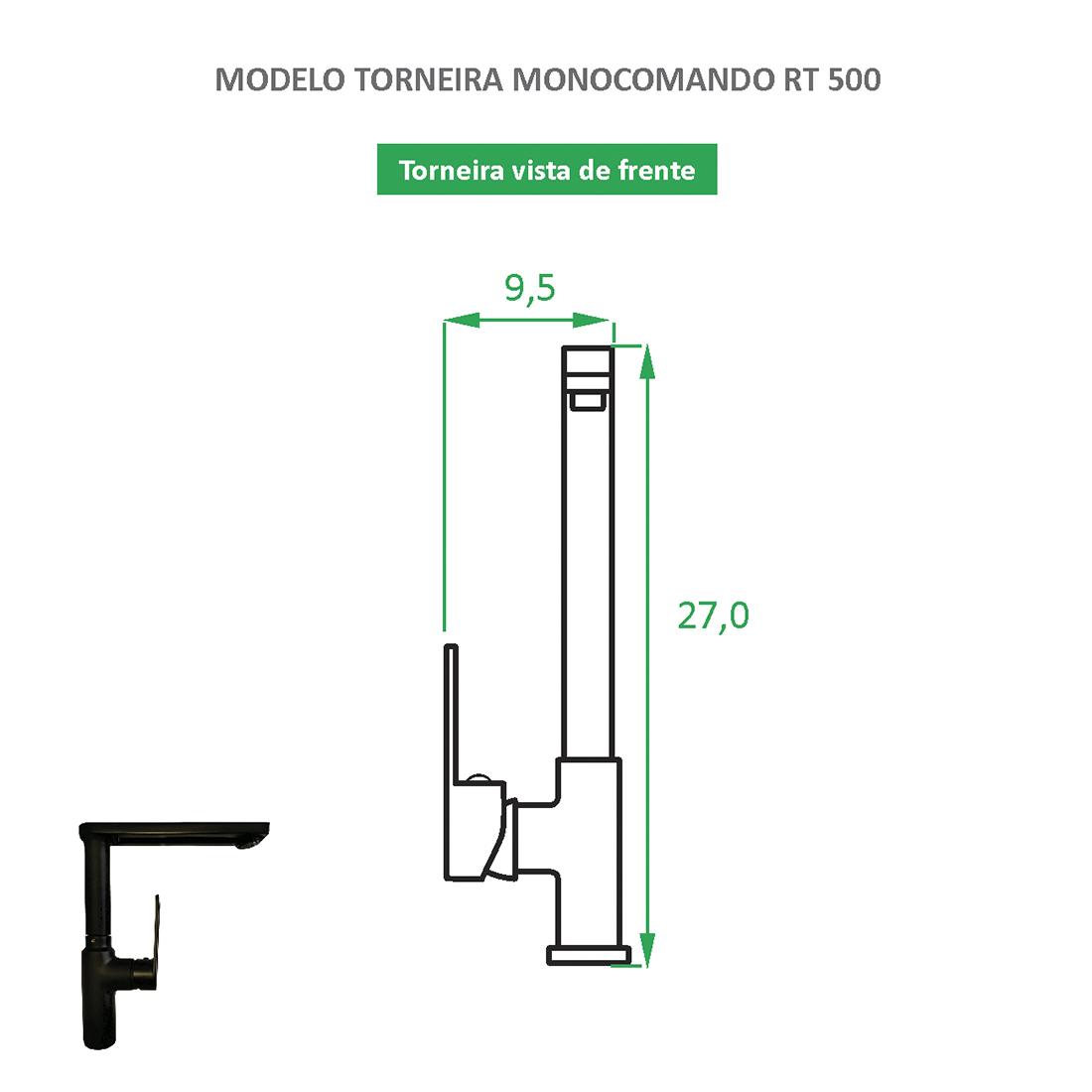 Torneira Monocomando bica alta RT 500 preta fosca