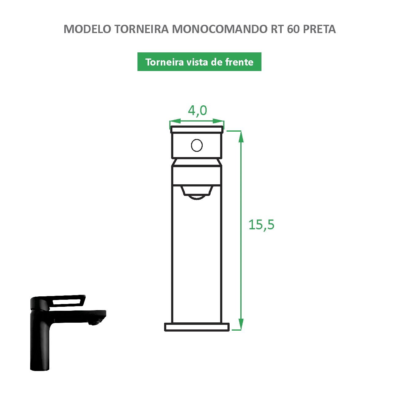 Torneira Monocomando Preta fosca RT 60