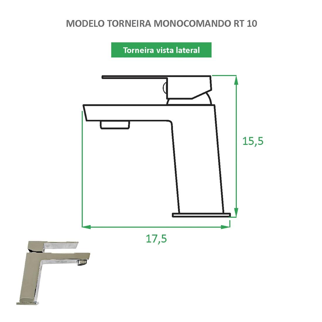 Torneira Monocomando Quadrada RT 10