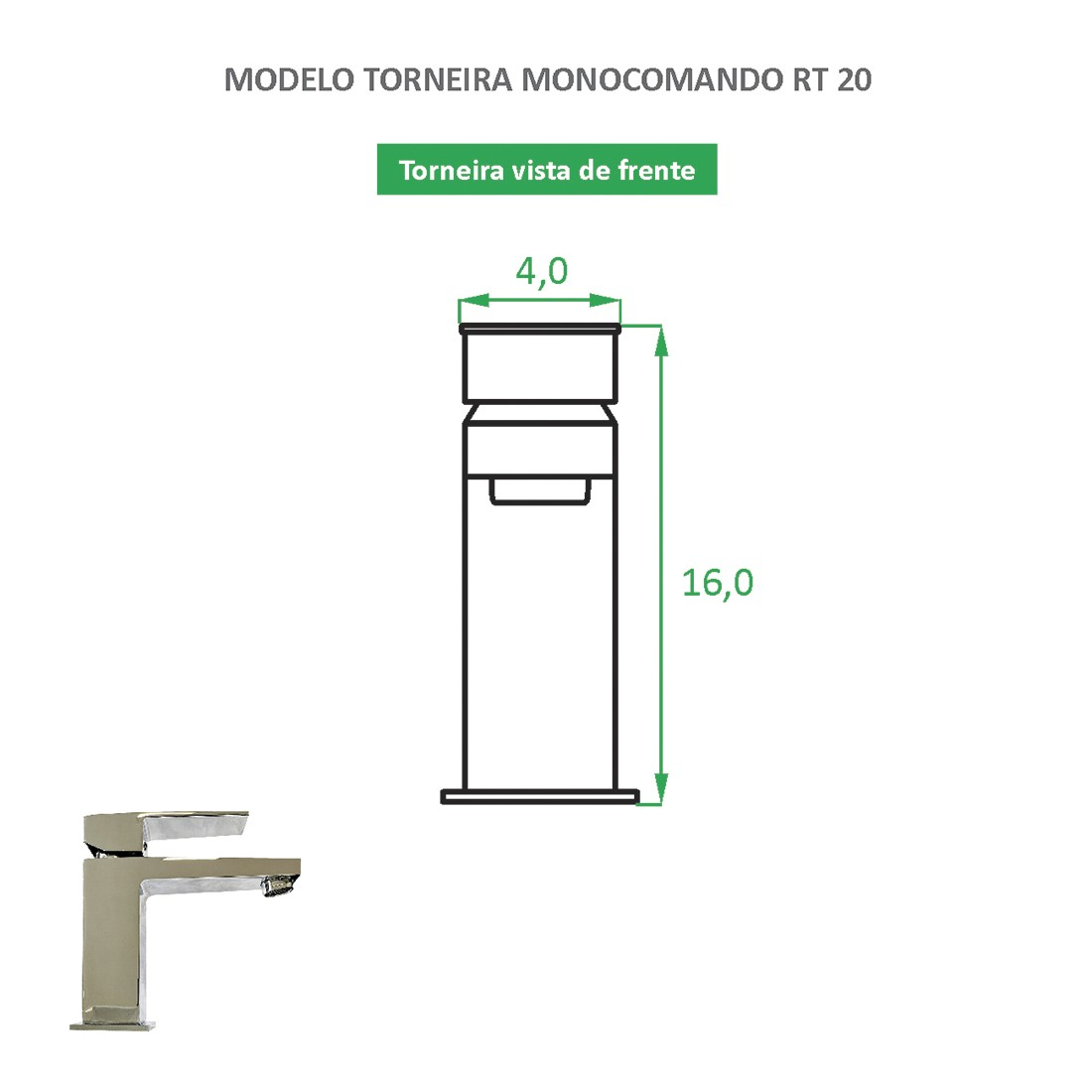 Torneira Monocomando Quadrada RT 20