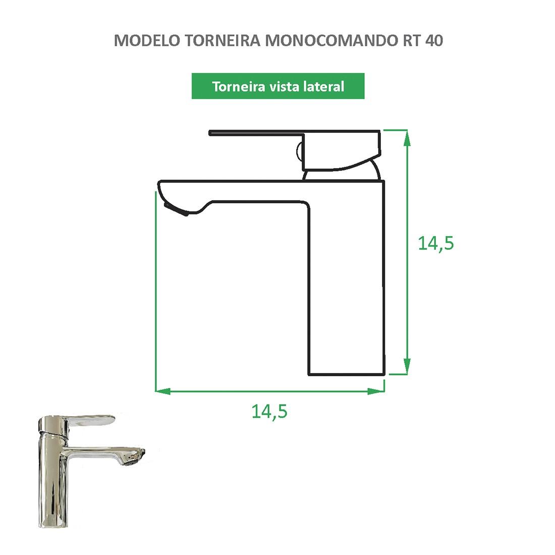 Torneira Monocomando Quadrada RT 40
