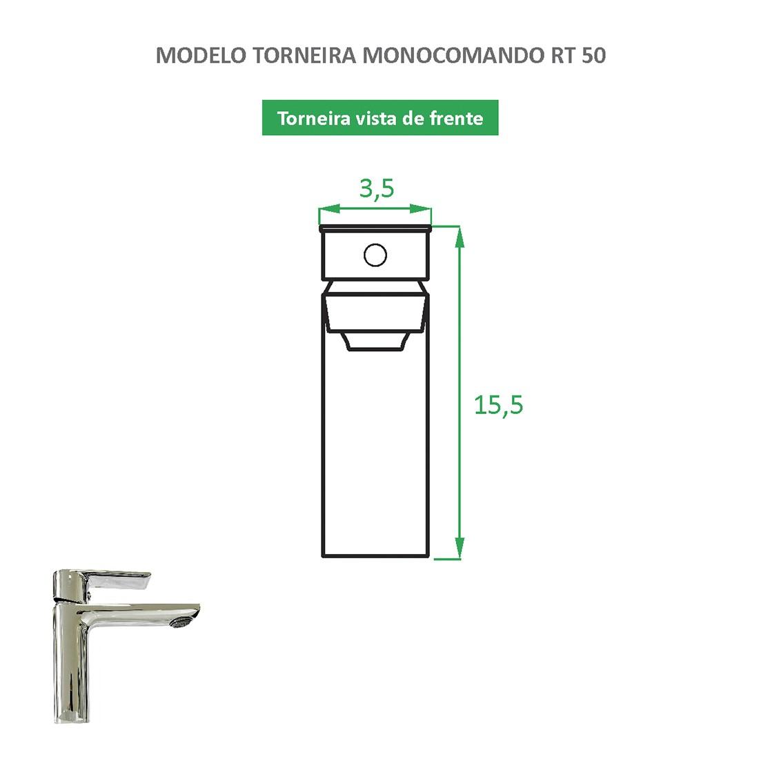 Torneira Monocomando Quadrada RT 50