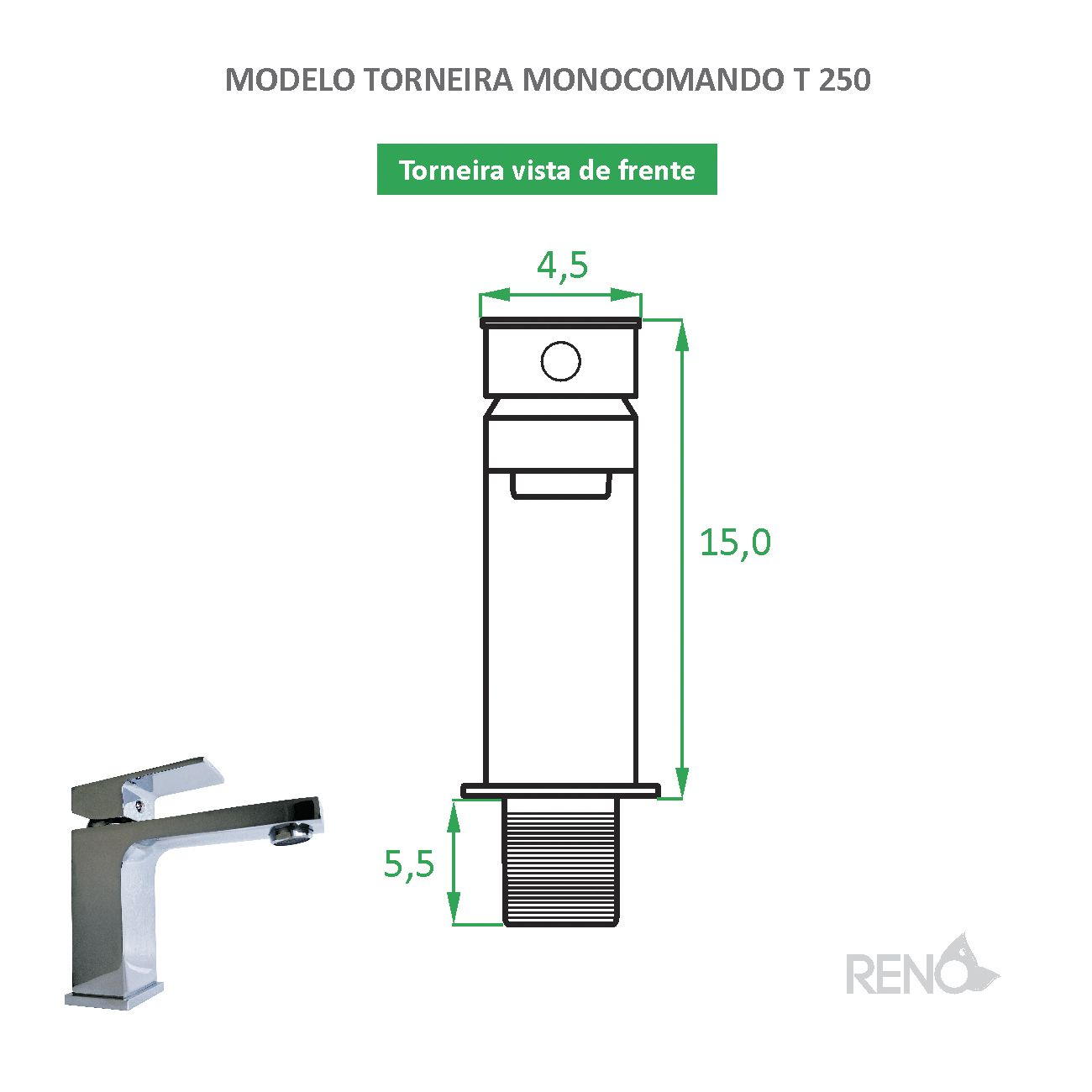 Torneira Monocomando Quadrada T 250