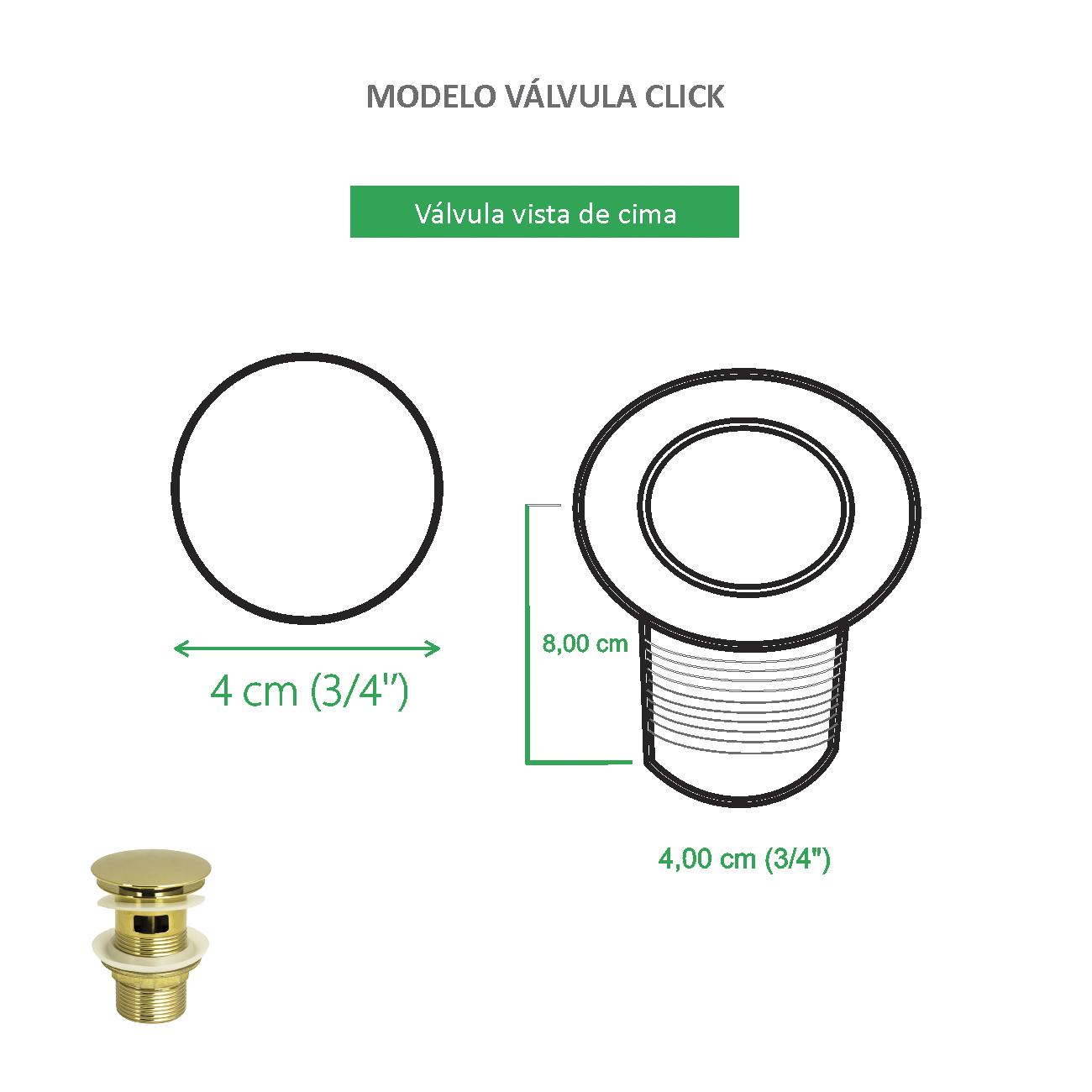 Válvula Click Dourada para Cubas
