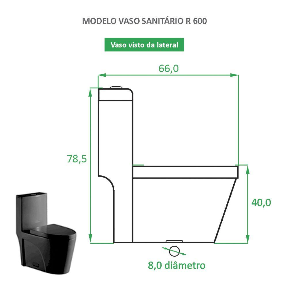 Vaso Sanitário Preto Fosco Reno R 600 - Novo Modelo!