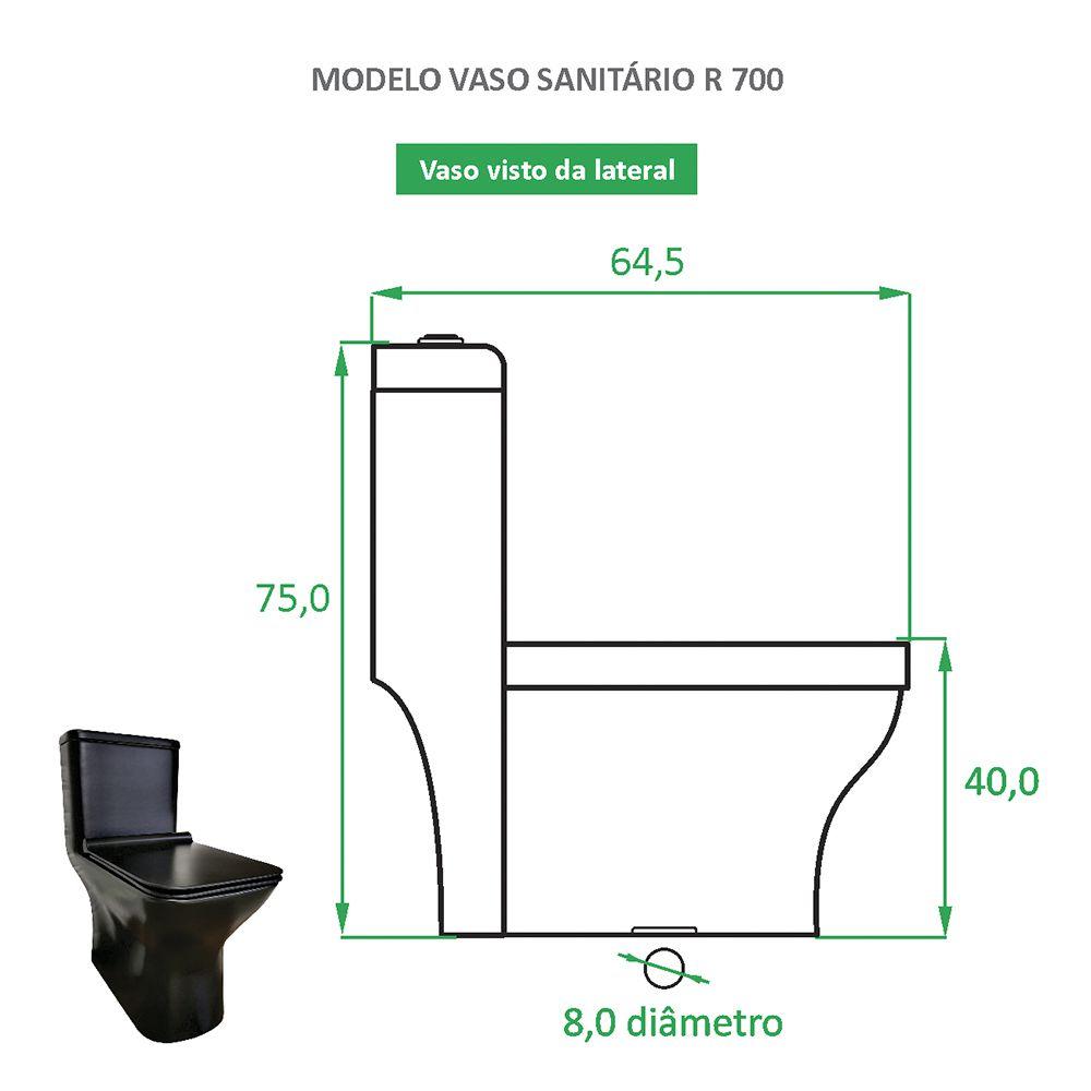 Vaso Sanitário Preto Fosco Reno R 700 - Novo Modelo!