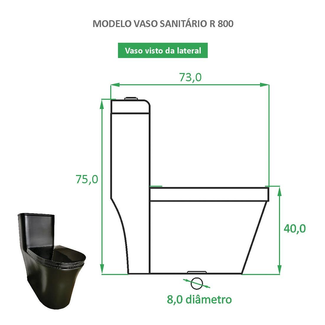 Vaso Sanitário Preto Fosco Reno R 800 - Novo Modelo!