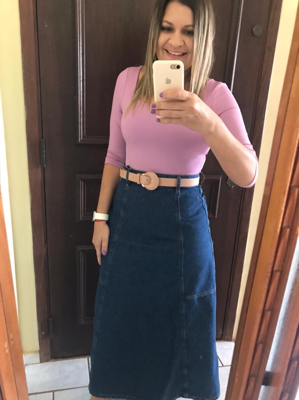 Saia Longa Jeans Escura com Faixa na Cintura