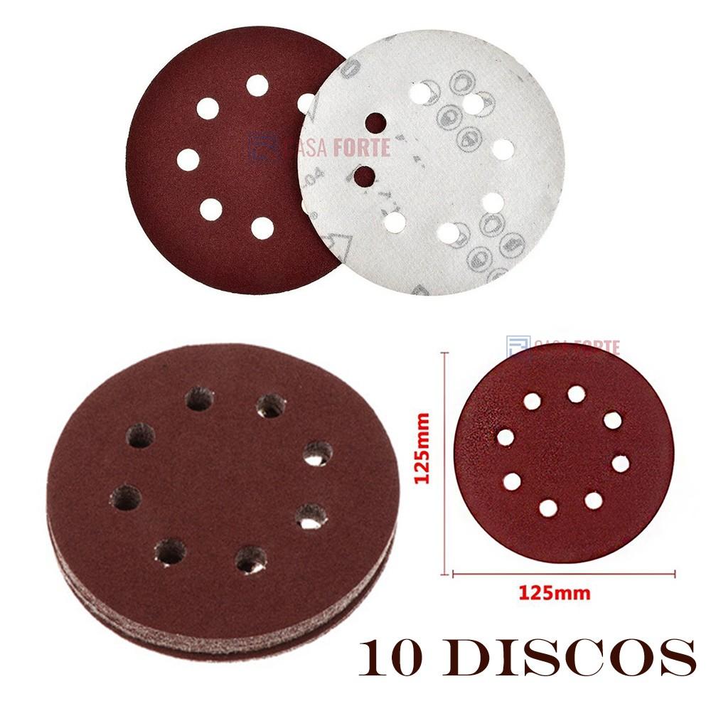 10 Discos de Lixa com Velcro 125mm 8 Furos Grão 120