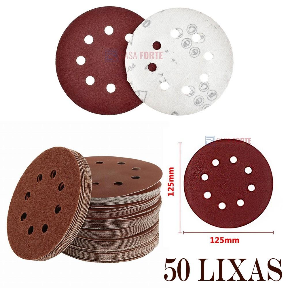 50 Discos de Lixa com Velcro 125mm 8 Furos Grão 120