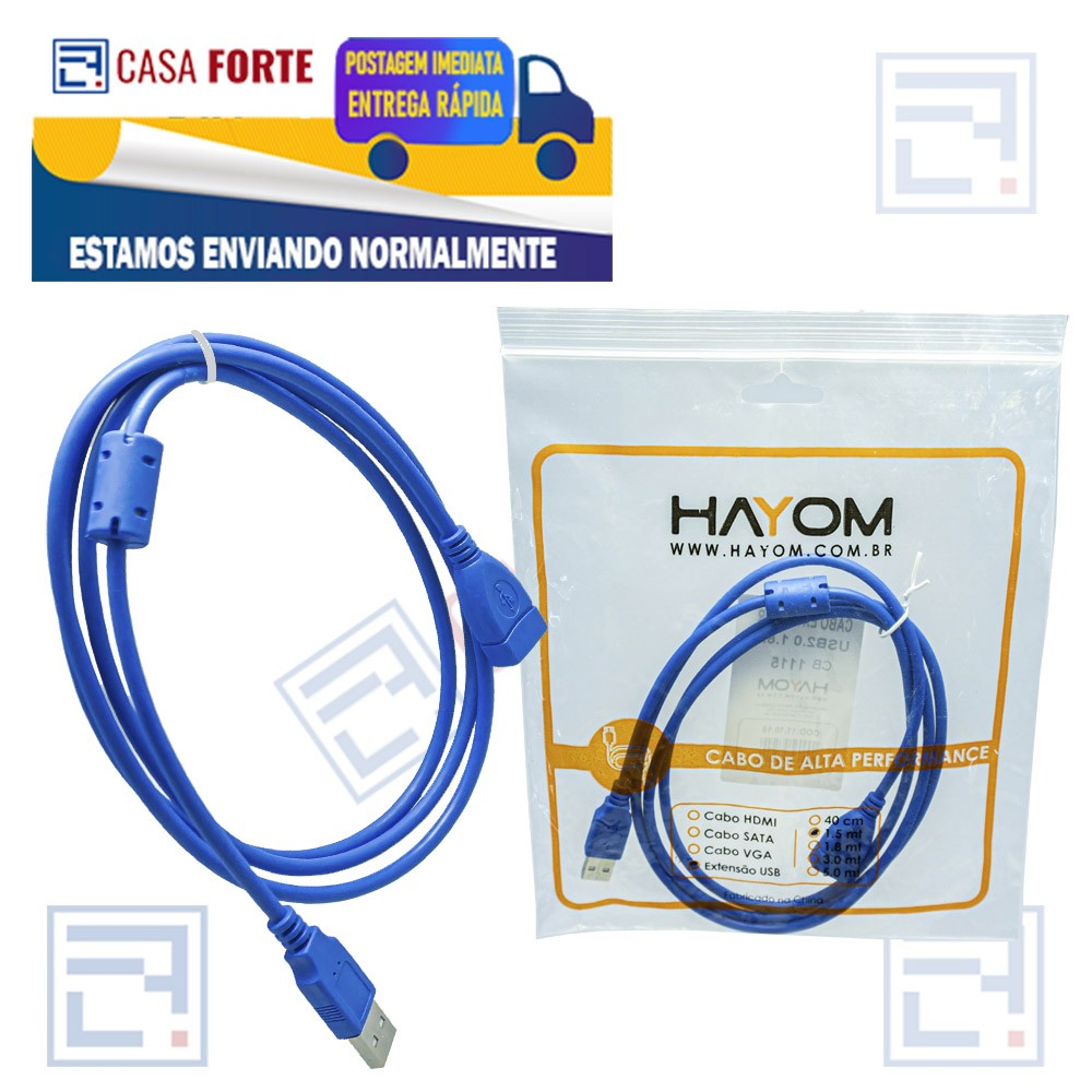 Cabo Extensor USB 2.0 1,5 mts  HAYOM CB1115